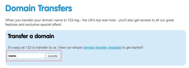 123 Reg - domain name input field