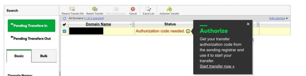 Enter transfer IDs - GD