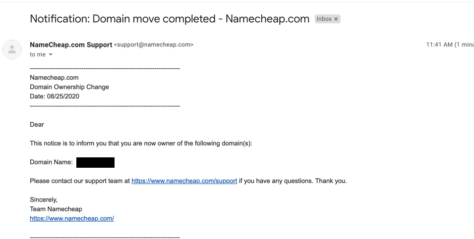 Namecheap - confirmation of ownership