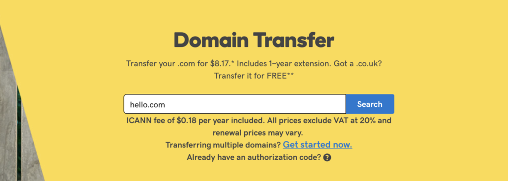 GoDaddy transfer