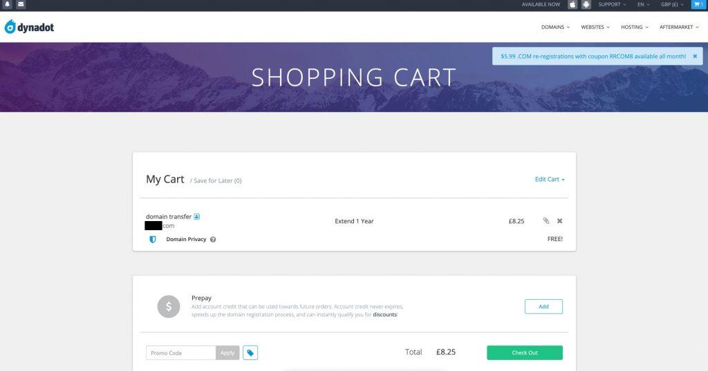 Dynadot - cart